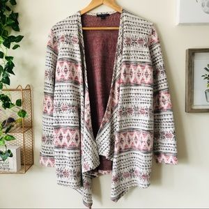 American Eagle Open Front Ethnic Print Cardigan